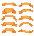 set of ten orange ribbons and banners vector image vector image