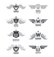 set of wings emblems vector image vector image