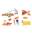 set people baking and eating huge pizza male vector image