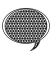 Silhouette oval speech with metal grid of vector image