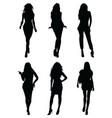 silhouettes of beautiful girls vector image