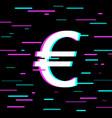 single glitch icon on black background vector image vector image