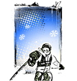skier poster vector image vector image