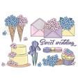 sweet wedding cartoon wedding clipart color vector image