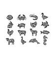 vintage of farm animals and sea animals vector image