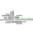 word cloud merchandise vector image vector image