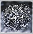 world snow day hand drawn cartoon doodles vector image vector image