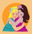 two girls girls hugs girlfriends vector image
