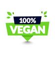 100 percent vegan tooltip label modern web banner vector image