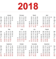 2018 Calendar template Vertical weeks First day vector image vector image