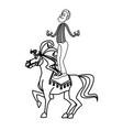 acrobat clown on circus horse entertainment vector image