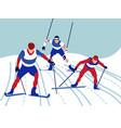 alpine skiing in minimalist style cartoon flat vector image vector image