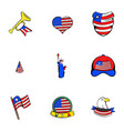 american dream icons set cartoon style vector image vector image