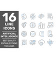 artificial intelligence line icons set brain vector image vector image