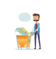 bearded man changing diaper of newborn baby dad vector image
