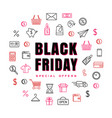 black friday card with line art icons vector image vector image