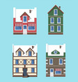buildings winter collection vector image vector image