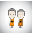 cartoon thai monks receive food temple background vector image
