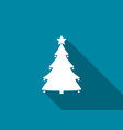 christmas tree flat icon with long shadow vector image vector image