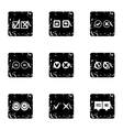 Click and selection icons set grunge style vector image
