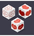 Collection of isometric boxes with hearts for a vector image