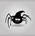 cute funny black cartoon spider wearing witch hat vector image
