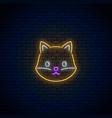 glowing neon sign of cute fox in kawaii style vector image