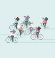 group couriers characters riding bicycle vector image