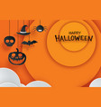 halloween paper hanging in orange background use vector image vector image