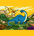 happy cheerful cartoon of brontosaurus and vector image vector image