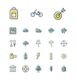 icons thin blue leisure weather vector image vector image