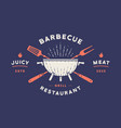 label or logo for restaurant logo with grill bbq vector image vector image