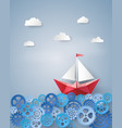 leadership concept with paper sailing boat float vector image vector image