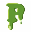 Letter P made of green slime vector image