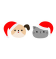 merry christmas cute dog cat round face icon vector image