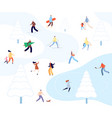 people walking winter park cartoon couples vector image vector image