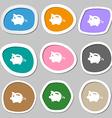 Piggy bank icon symbols Multicolored paper vector image
