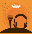 poster music festival in orange background with vector image vector image