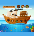 printwood boat sailing with wild animals theme vector image vector image