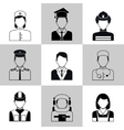 Professions avatar icons black set vector image vector image