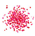 red and pink scatter paper hearts confetti vector image vector image