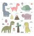 set cute dinosaurs for children vector image