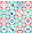 set of 16 advertising icons includes coding vector image