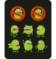 Set of cute green microbes vector image