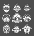 set of vintage mountain explorer labels vector image vector image