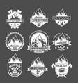 set vintage mountain explorer labels vector image