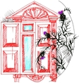 sketch the window and thistle vector image vector image