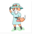 Smiling fox in dress hat and with bag