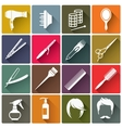 Square colorful hairdressing equipment icons vector image vector image
