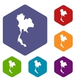 Thailand map icons set vector image vector image